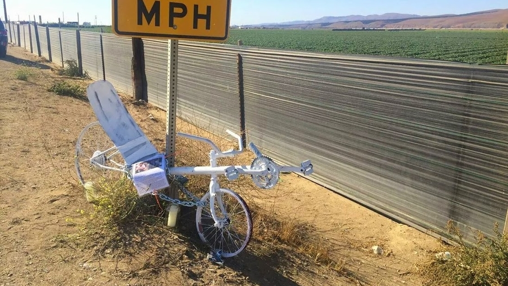 Ghost Recumbent Bike placed on Foxen Canyon Road in memory of Matthew O'Neill