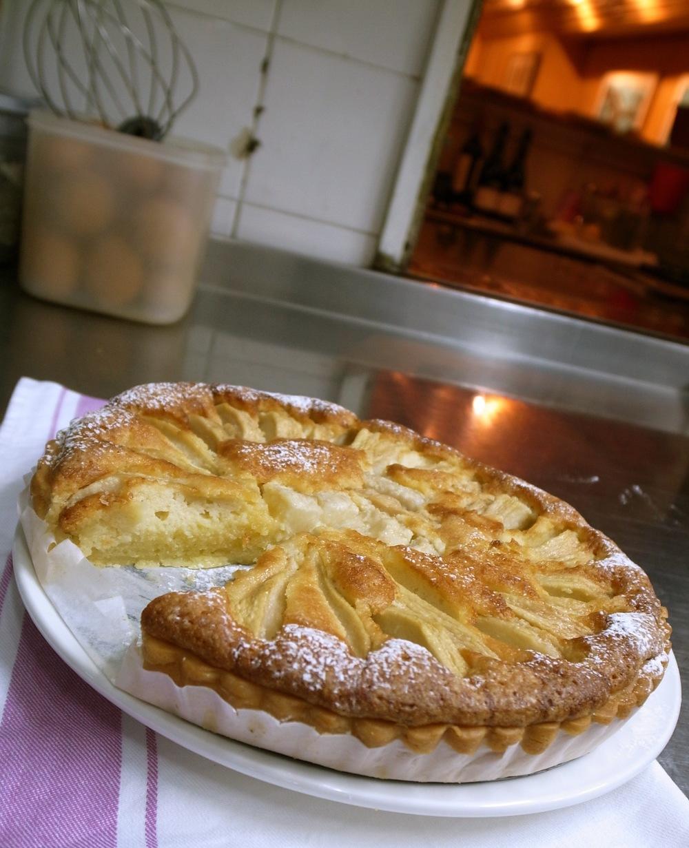 Pear frangipane tart in the kitchen.jpg