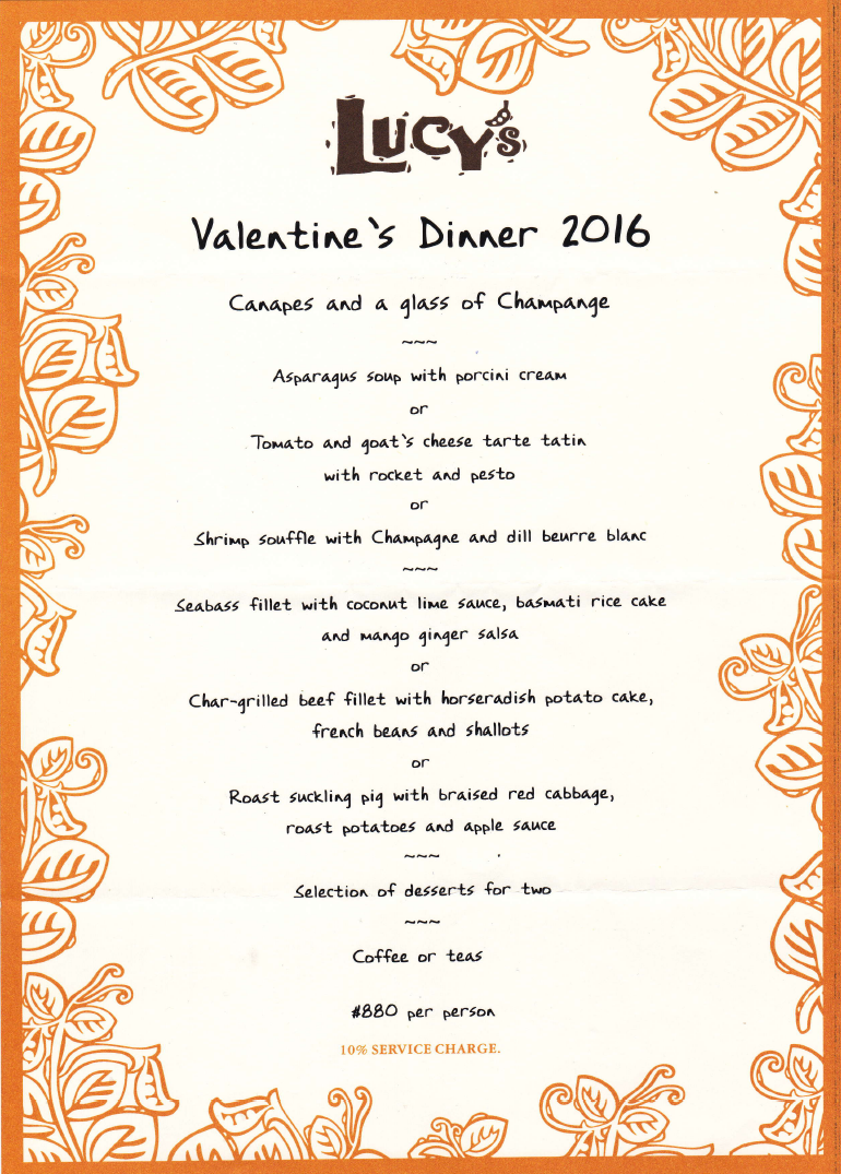 Celebrate St Valentine's Day at Lucy's with our special lunch and dinner menus.