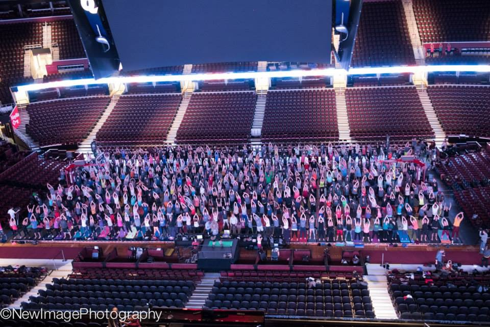 November 20, 2014: 600 Believers practicing yoga at Quicken Loans Arena.