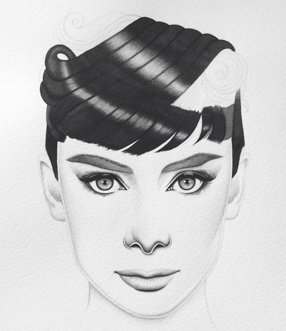 In-Progress Portrait of Audrey Hepburn 2017