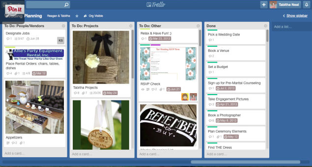 Planning a Wedding on Trello