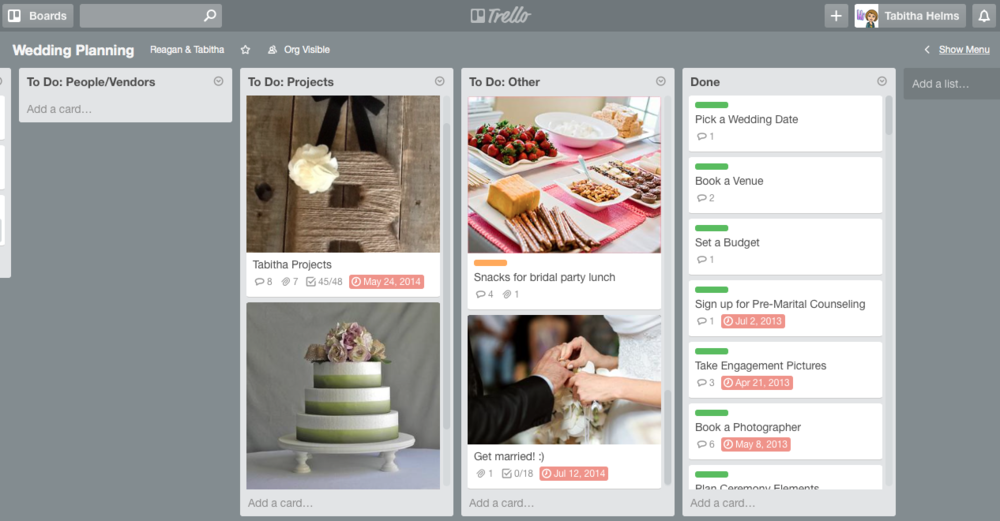 Planning a Wedding with Trello