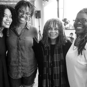 l to r: Nina Angela Mercer (Ocean Ana Rising), Jessica Solomon, Sonia Sanchez, Ebony Noelle Golden (Betty's Daughter Arts Collaborative), July 14, 2013