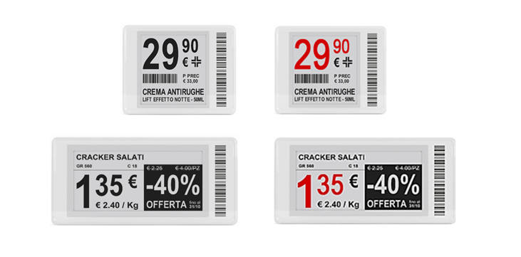 e-paper electronic shelf labels - black/white & red