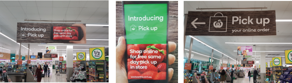 Woolworths Double Bay, NSW -  new signage emphasising the click & collect pick up in store offering