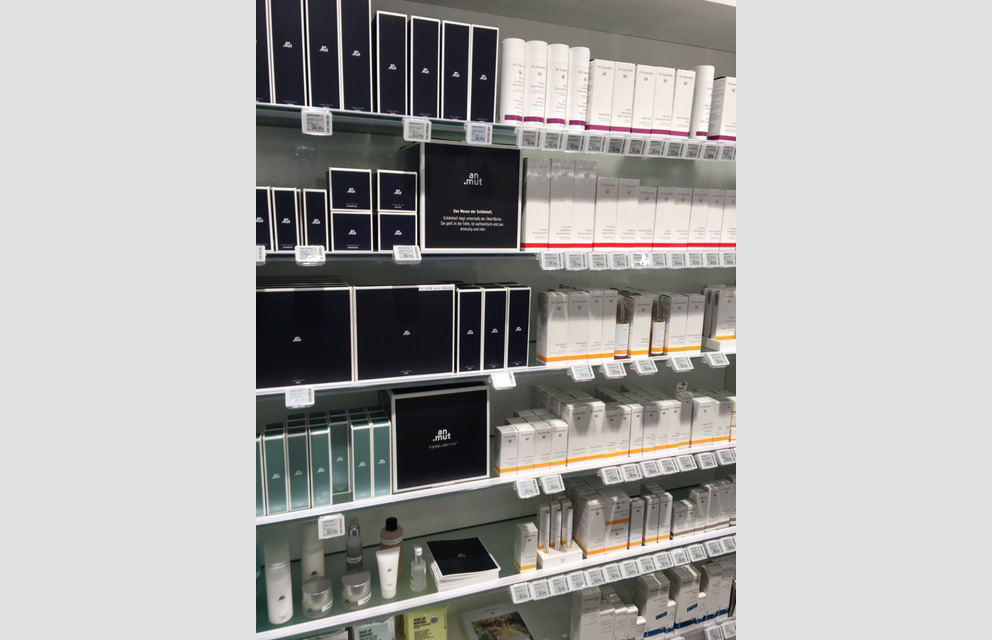 Beauty section of a pharmacy using esLabels electronic shelf labels