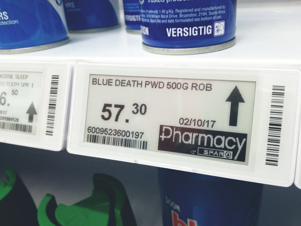 SPAR Pharmacy logo on electronic shelf label
