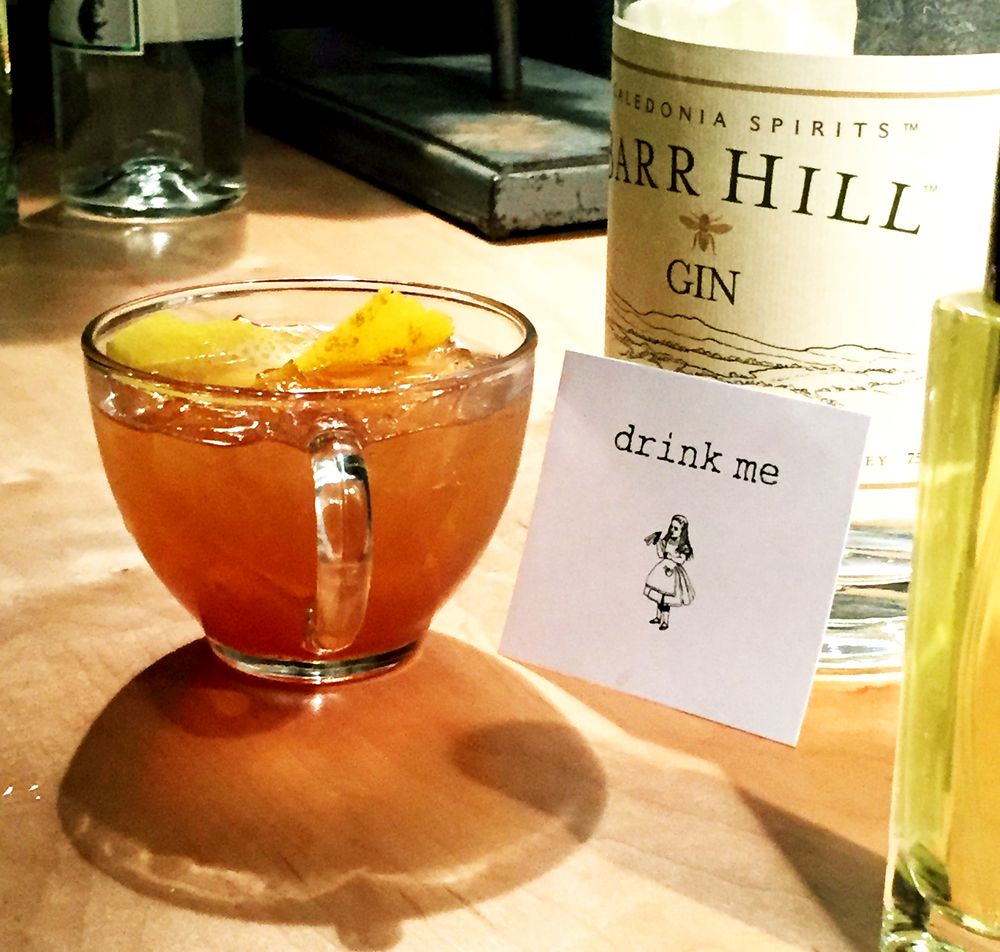 Barr Hill Gin, smoked tea, lemon and honey.  paired with Rosemary & Wild Honey Edible Fragrance