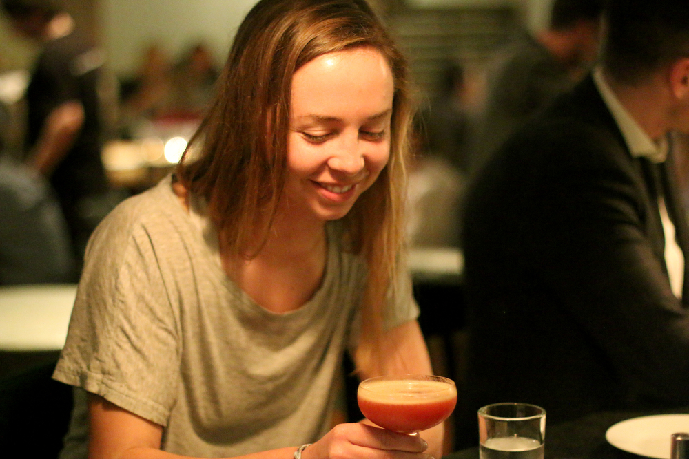 Our friend Erin experiences Cocktail Aromatics for the first time (we think she liked it)