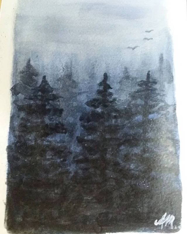 """Trying to get back into water colour painting, so expect alot of practice photos incoming soon :) . Today's tonal tree practice (7""""x 5"""" 190gsm paper)"""