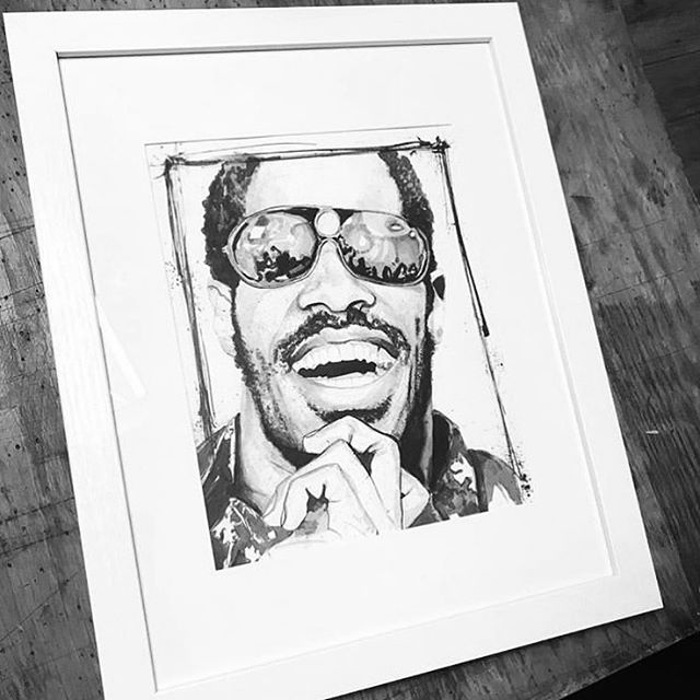 We love our customers and Yes we do commissions! This Stevie Wonder original finally made its way home to its new owner ⚡️⚡️⚡️ . . . To inquired about a commission or purchase an archival print from us, clink link in profile or DM us. . . Copyright 2019 Yokai Studios Illustration by Hassan Warrior . .  #yokai #yokaistudios #yokaistudiosshop #etsy #art #artwork #wemakeart #illustration #illustrator #drawing #blackandwhite #black #bnw #archivalprint #fineart #wallart #japanese #japaneseink #ink #brush #tattoo #music #inkpainting #steviewonder #commission