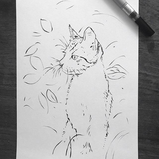 Cat in the Bush⚡️⚡️⚡️ . . . To purchase an archival print from us, clink link in profile. . . Copyright 2019 Yokai Studios Illustration by Hassan Warrior . .  #yokai #yokaistudios #yokaistudiosshop #etsy #art #artwork #wemakeart #illustration #illustrator #drawing #blackandwhite #black #bnw #archivalprint #fineart #wallart #japanese #japaneseink #ink #brush #tattoo #music #inkpainting #cat #kitten #kittensofinstagram #catstagram