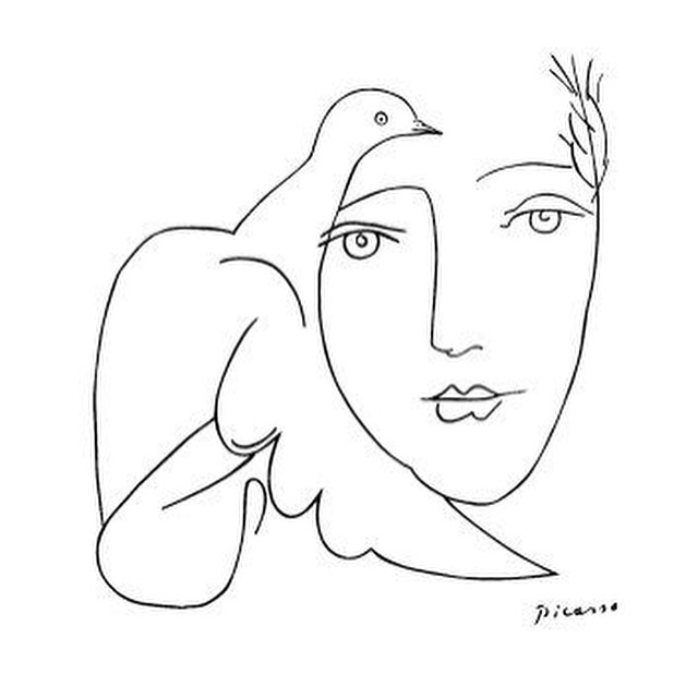 Picasso Line Drawing Face : Pablo picasso face dove sketch — paradis