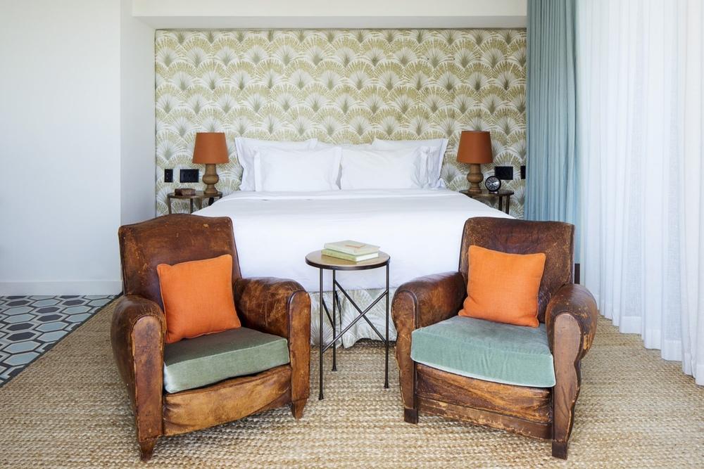 Side Table No. 2, (walnut travertine limestone), Guest Room, Soho Beach House, Miami