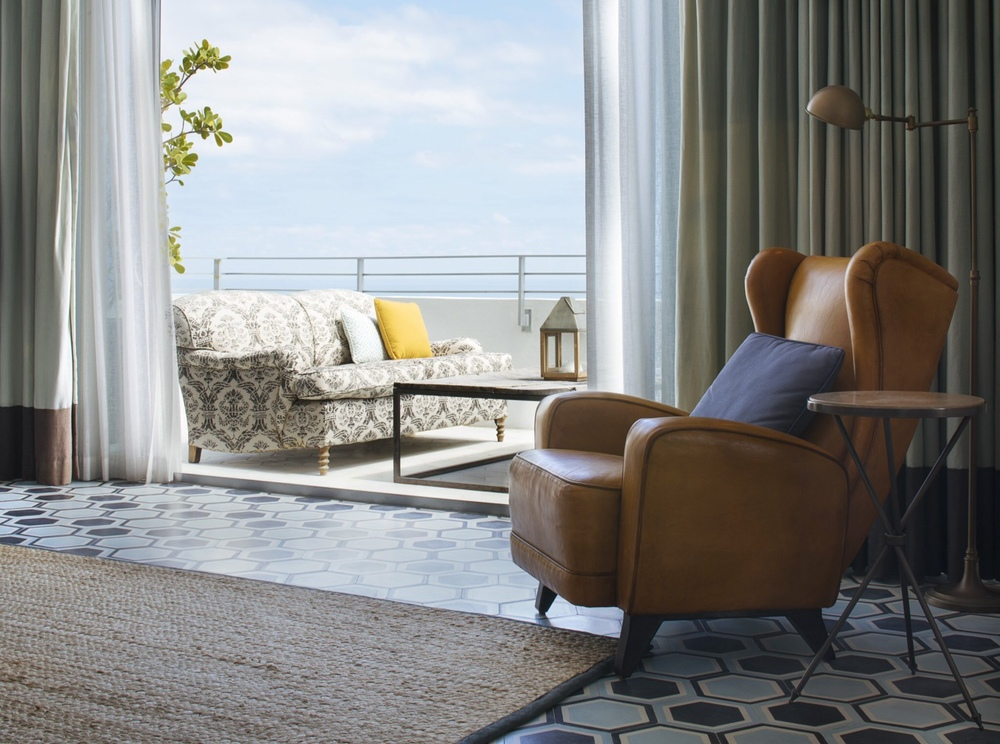 Side Table No. 1, (walnut travertine limestone), Guest Room, Soho Beach House, Miami