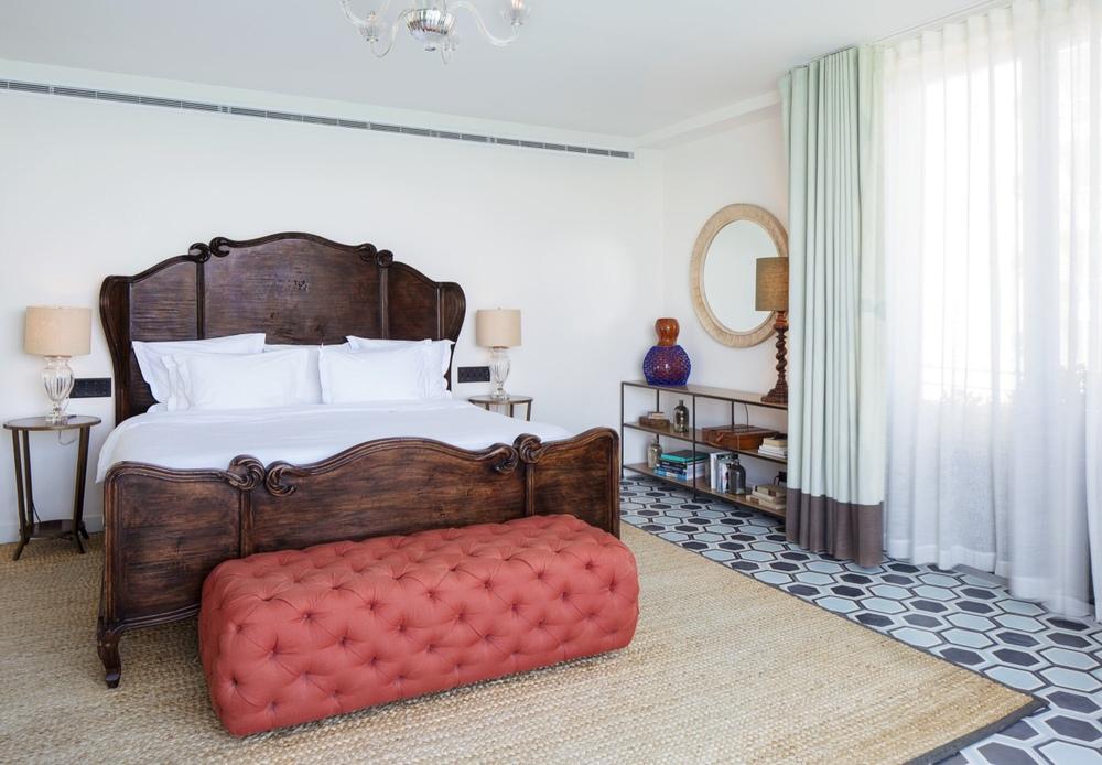 "Console No. 3, (70"" x 14"" x 30, dark brown bronze finish, walnut travertine limestone), Guest Room, Soho Beach House, Miami"