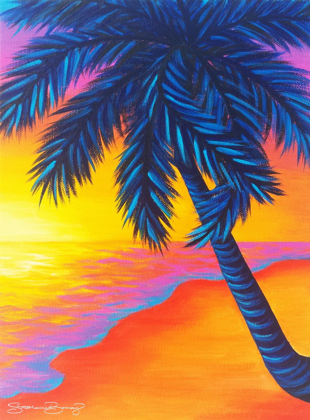 Blue Palm Sunset No. 2
