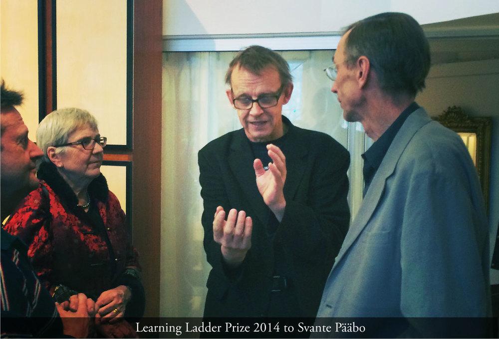 The artist Lennart Stense, Agneta Rosling, Hans Rosling, Svante Pääbo