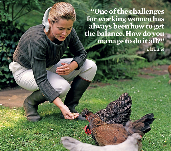 Liz Earle feeding chickens