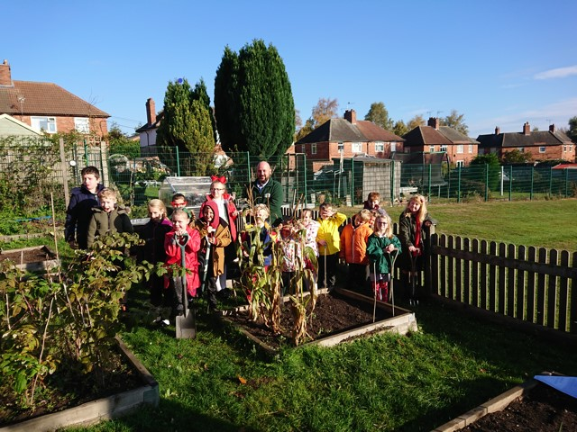 Proud pupils at Blidworth Oaks Primary School and their winning allotment
