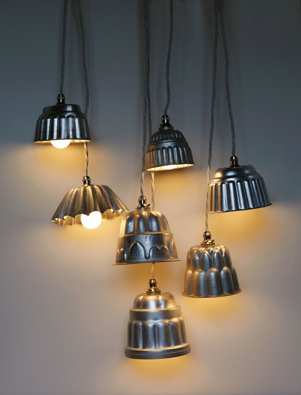 Jelly Mould pendant shades by    Re-Found Objects