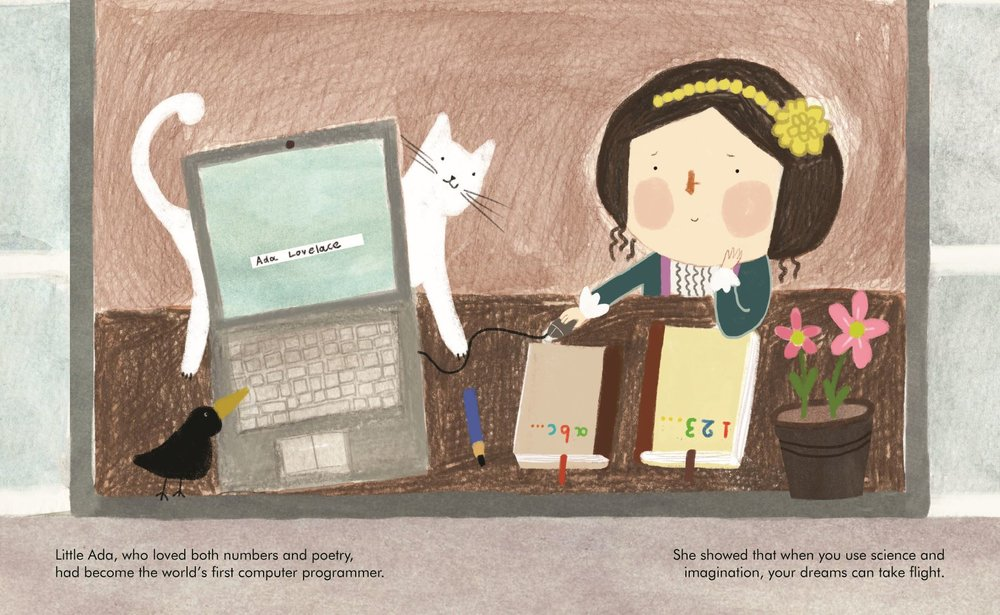 Illustration from  Little People, Big Dreams: Ada Lovelace   by Isabel Sanchez Vegara. Illustrations by  Zafouko Yamamoto .( Quarto )
