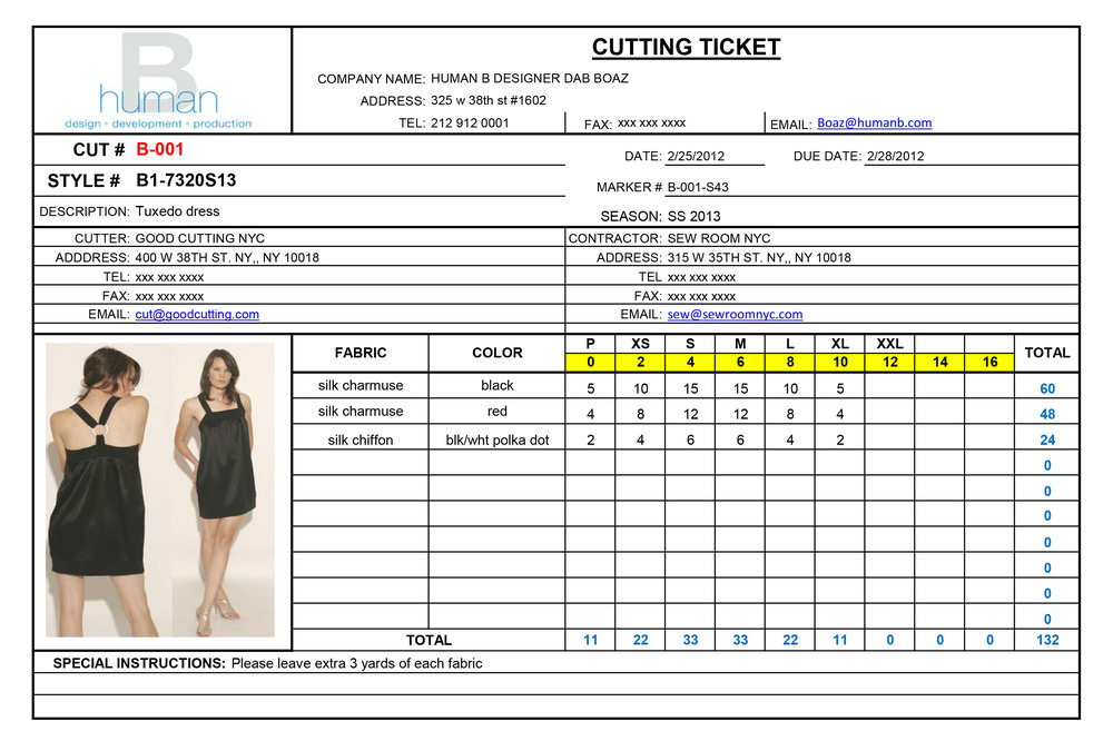 cutting ticket form  u2014 human b
