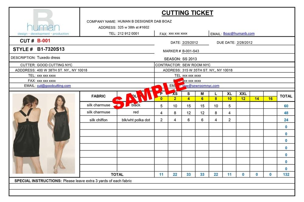 Cutting Ticket Form Human B