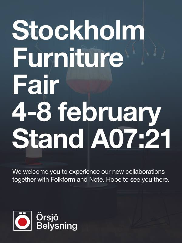 Örsjö will be exhibiting at the Northern Light Fair, part of the Stockholm Furniture Fair, 4-8 February (Stand A07:21).  Featuring new releases by  Folkform  and  Note Design Studio .  For more information please visit  Stockholm Furniture Fair 2014 .