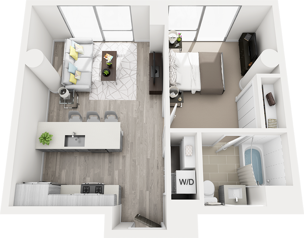Floor Plan B3 664 SQ FT