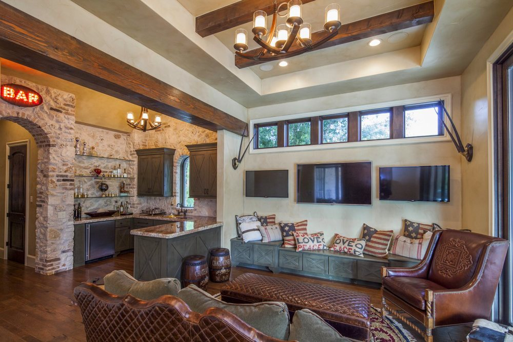 Architecture Home Eclectic old world game room bar
