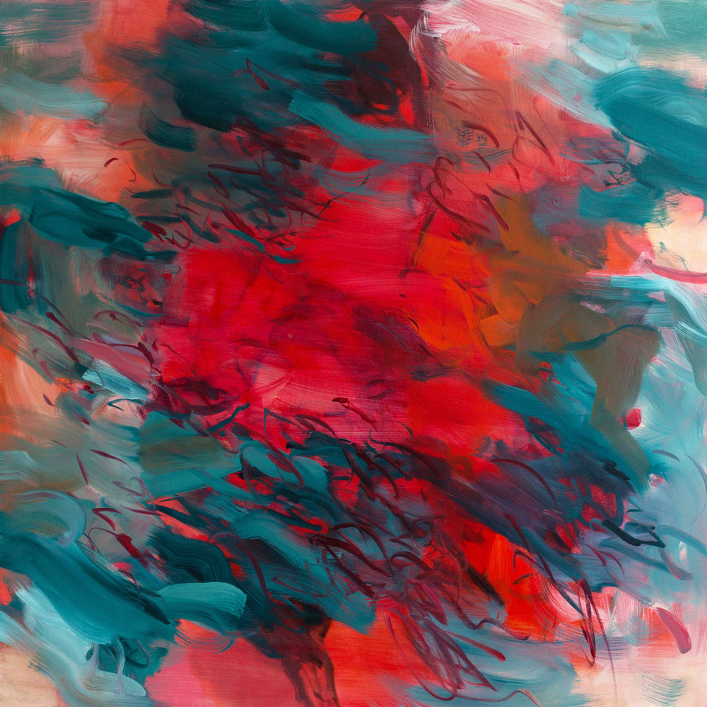 Untitled  (red-turquoise)  2016  oil on canvas  145 x 145 cm