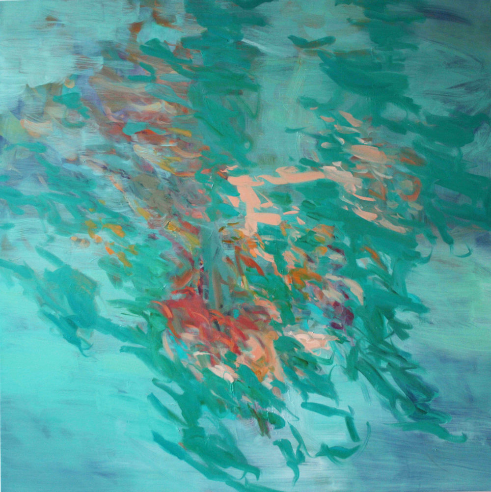 Untitled  (turquoise-pink)  2016  oil on canvas  145 x 145 cm