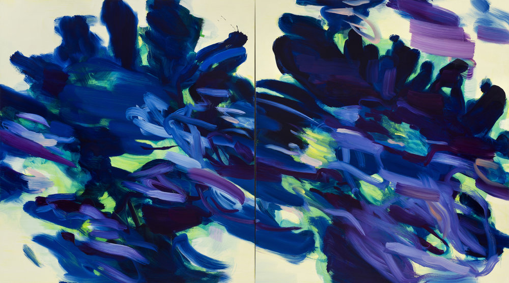 Unfurling  (Delft Blue)  2018  Oil on canvas  127 x 229cm  (Diptych)