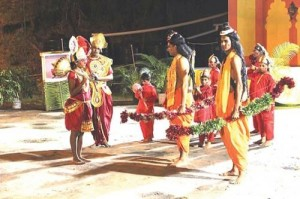 Ramlila (Rama + lila) meaning the lifestory of Rama is the melodramatic presentation of Ramayana.