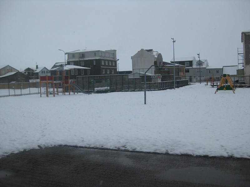 We took a picture today of the kids playground, we have had snow today.