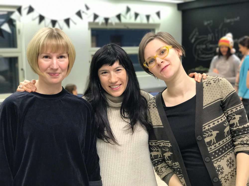 From left to right: Saara Raevuori, Arlene Tucker, and Anastasia Artemeva. Saara is the art teacher at Helsingin yhteislyseo. Arlene and Anastasia are the makers and creators of Dear You. Thank you, Museum of Impossible Forms for hosting us!