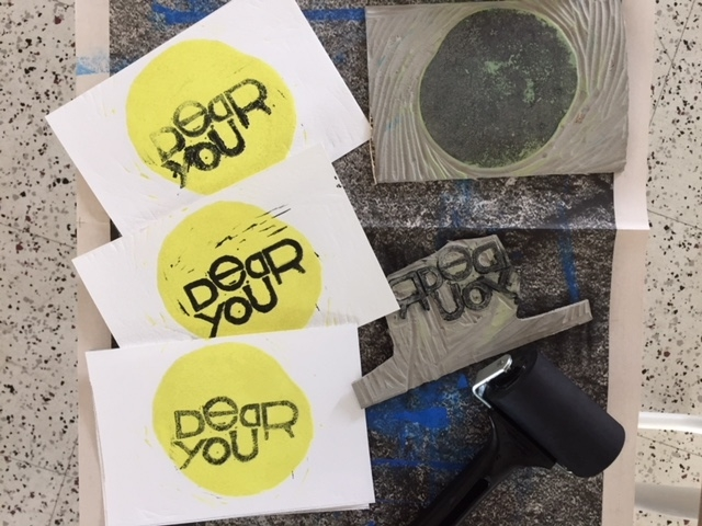 I attended a printmaking workshop at Museum of Impossible Forms to make Dear You linoleum prints for InSEA conference in Helsinki. I will be happy to give you one when we meet!