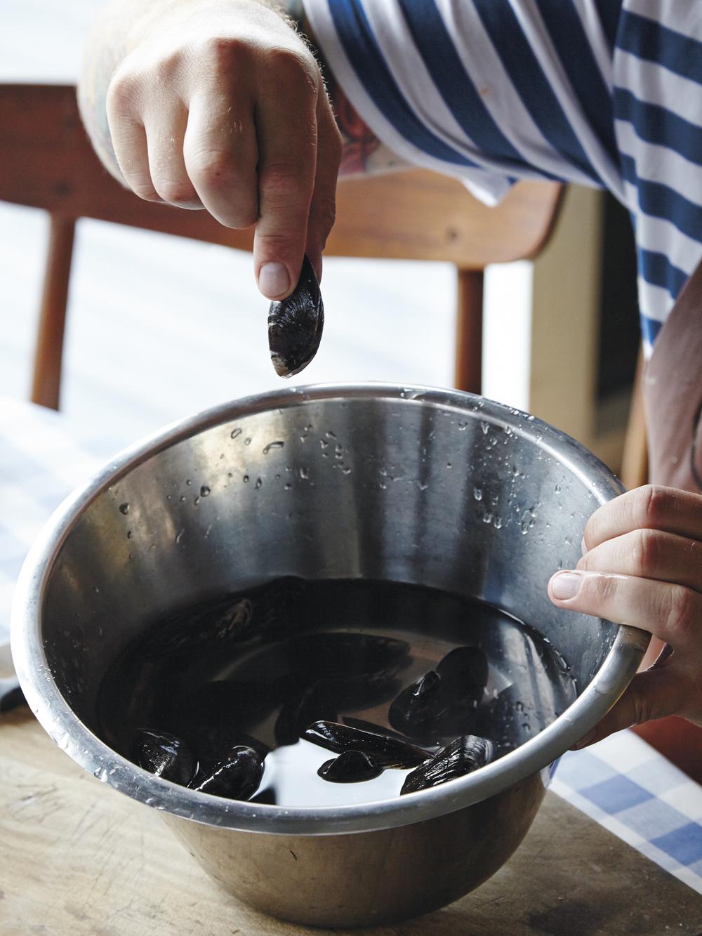 1. Ha skjellene i en balje med vann.