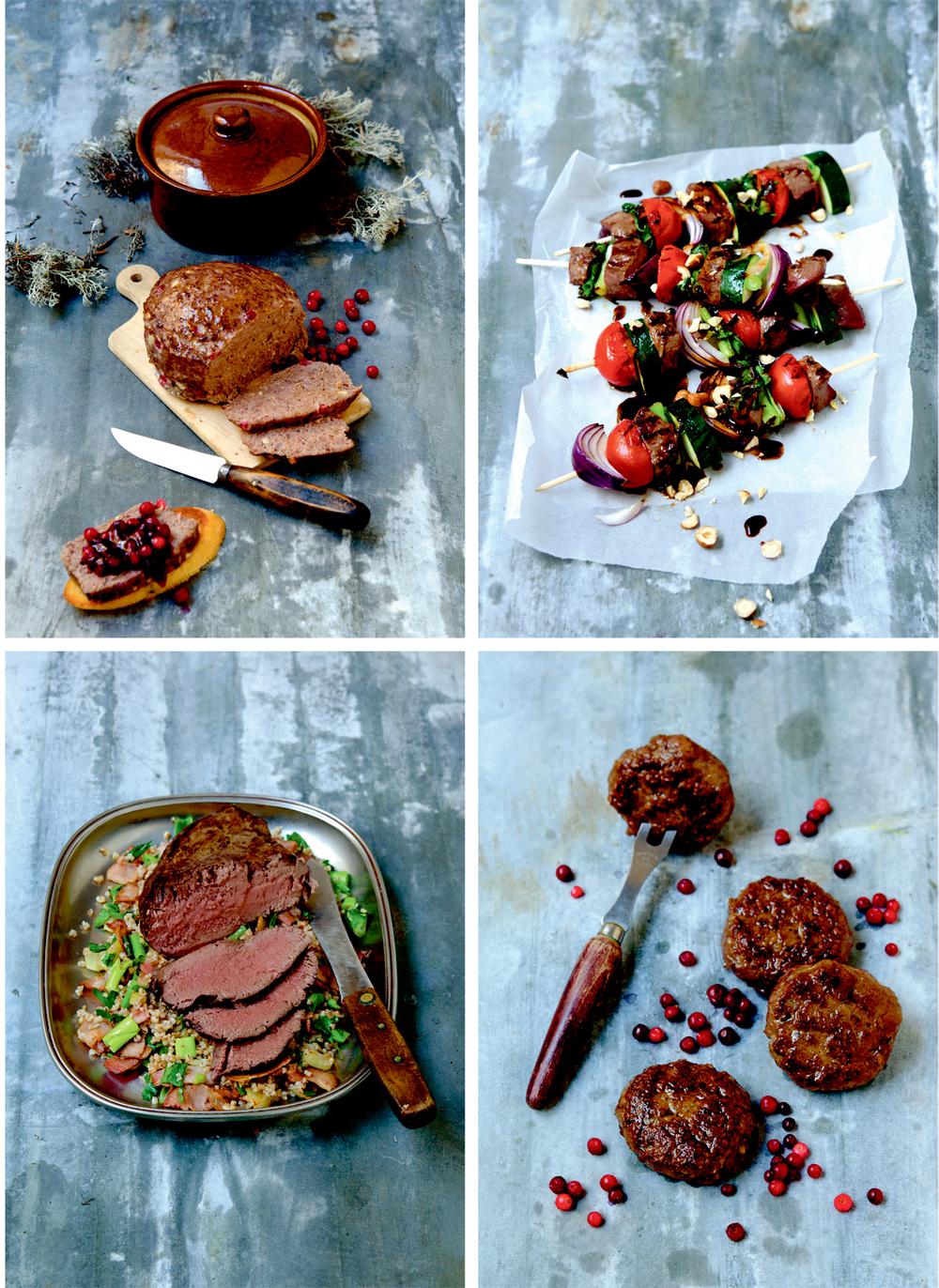 Øverst fra venstre: Kjøttpudding av reinsdyr. Grillet reinsdyr på spidd. Langtidsstekt mørbrad med byggris. Reinsdyrkaker.