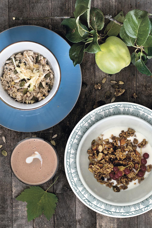 Birchermüsli, Etter skoletid-granola og Sjoko-banan-shake