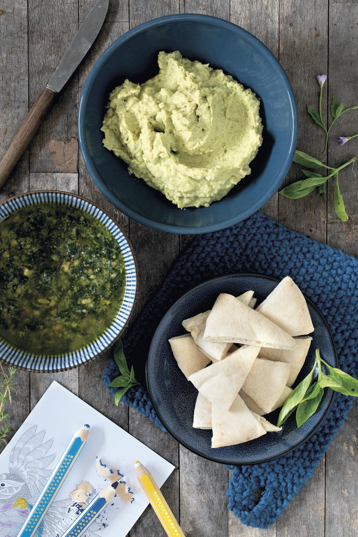 Grønn hummus og Pappas enkle pesto