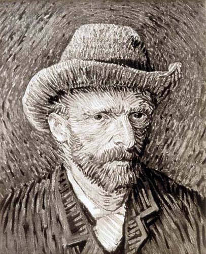 After Van Gogh , 1993.  This is a black and white photograph of a Van Gogh painting.