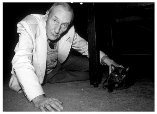 William S. Burroughs with his cat.