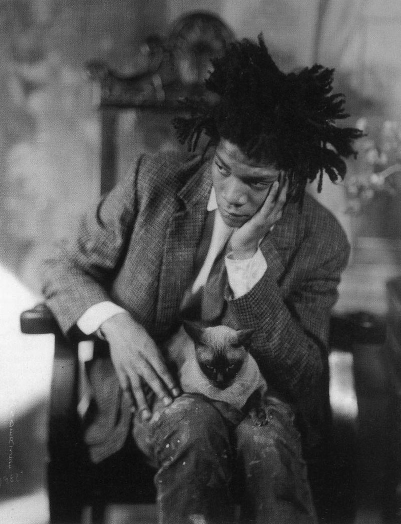 Jean Michel Basquiat with cat.