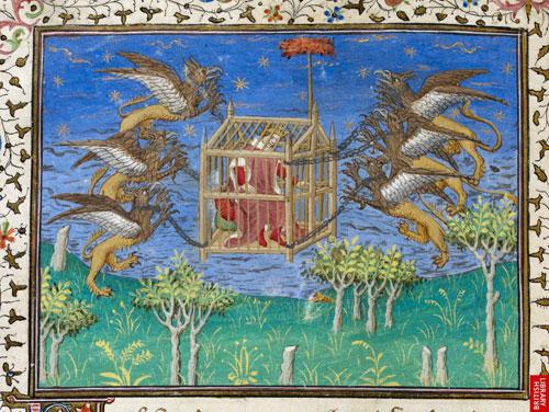 3 Alexander-conquering the sky XV century, from La Vraye Histoire du Bon Roy Alixandre.jpg
