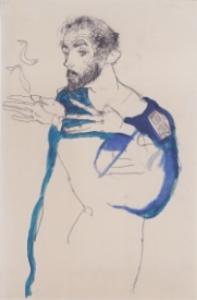 Egon Schiele,  Gustav Klimt in his Blue Painter's Smock , 1913