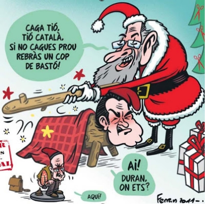 A cartoon featuring both a Caga Tio and a Caganer figure.