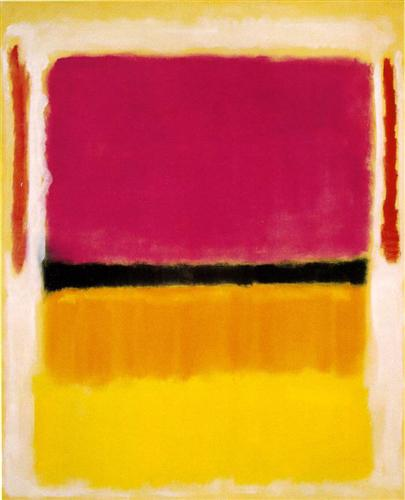 Violet, Black, Orange, Yellow, on White and Red, 1949